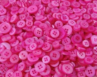 Pink Small Mixed Buttons - Bulk/Job Lot/Scrapbooking/Card Making/Crafting