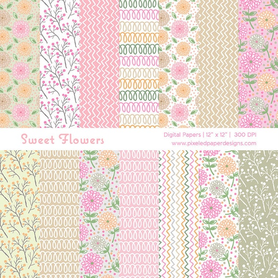 Sweet Flowers Digital Paper Pack - Digital Background for Scrapbook, Cards, DIY, Photography, Invites etc | Commercial License Available
