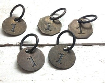 vintage brass Number Tags #1 ~round ~ rustic industrial