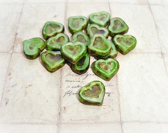 5 Deep Meadow Green Heart Beads  14 mm x 12 mm