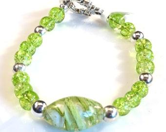 Women's Lime Green Beaded Bracelet