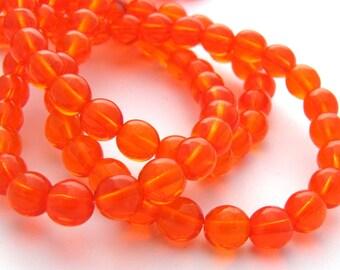 Hyacinth Orange 6mm Smooth Round Czech Glass Beads 50pc #2709