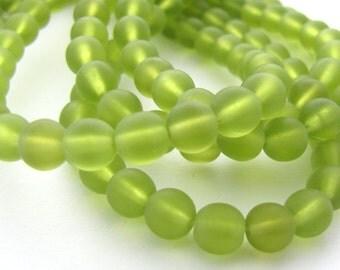 Matte Olivine  6mm Smooth Round Czech Glass Beads 50pc #2278