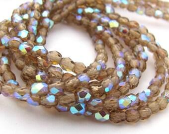 Smoky Topaz AB 3mm Facet Round Czech Glass Fire Polished Beads 50pc #2812