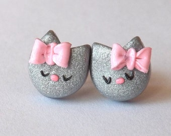 Earrings, Stud Earrings, Cute Silver Cats, Hypoallergenic Posts, Pink Bow Studs, Gray Cat Earrings