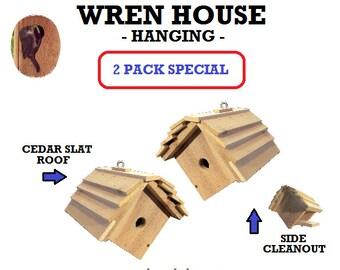 Ark Workshop WREN House 2 PACK Cedar Shelter Box Home for wrens, chickadees, titmice. HANGING