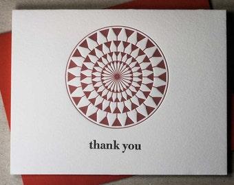 Letterpress flower petal/martini glass thank-you card (#TX009)