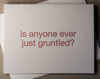 Letterpress red gruntled card (#MIS006)