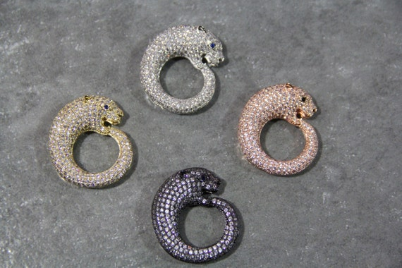 CZ Micro Pave 33mm Panther Beads