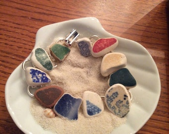 SALE  Sea Glass Pottery Bracelet- 11 pieces of authentic surf tumbled pottery-Silver 1091