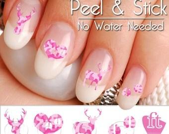 Deer Buck Pink Camo Nail Art Decal Sticker Set BUK102