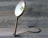 Vintage Brass Travel / Shaving Mirror - Around the Neck Mirror - Hands Free Adjustable Mirror