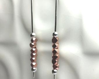 Silver copper bead Earrings / Sterling Silver dangle / modern drop earrings/ Anniversary gift/ Sterling Silver earrings/ Handmade in the UK