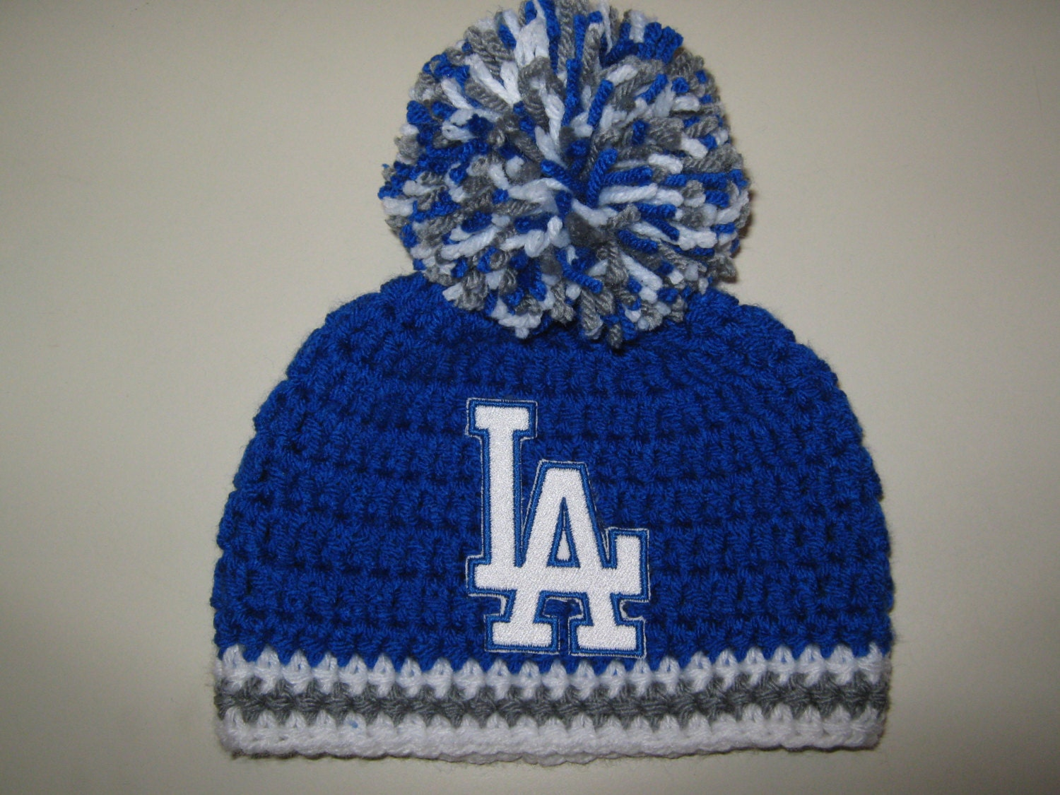 Crochet Beanie Baby Hat Los Angeles Dodgers Blue White And