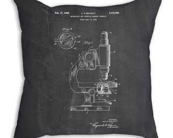 Antique Microscope Patent Pillow, Science Teacher Gift, Science Pillow, Chemistry Art, Biologist Gift, PP0064