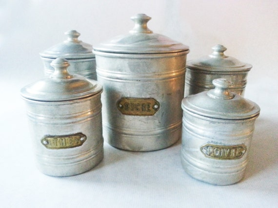 Reserved For DIANE French Kitchen CANISTERS SET / French Decor