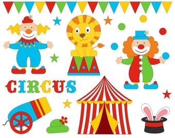 Funny Bright Circus Clip Art Set, Clowns Clipart, Digital Clip Art - Instant Download - YDC122