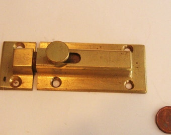 Vintage Brass Cupboard Catch Knob Italy Spring Load New Old Stock