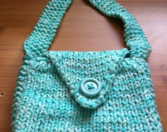 Hand Knitted Bag, Mint Green And White 9 X 10 Inches Approx handbag shoulder bag uk seller