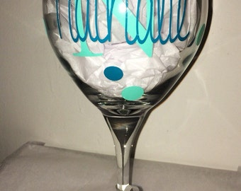 Name and Initial Wine Glass - One Glass