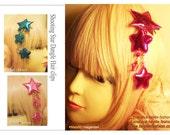 Shooting Star Dangle Hair clips, Metallic/Fuzzy/Furry