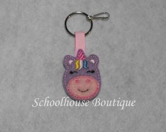Lavender Unicorn Felt Zipper Pull, Felt Keychain Fob, Felt Key Ring, Felt Key Fob, Purse Accessory, Luggage Tag