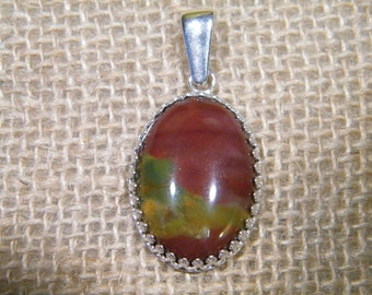 Bloodstone Jasper Pendant Sterling Silver and Stone Pendant Gemstone Jewelry red green and yellow stone pendant