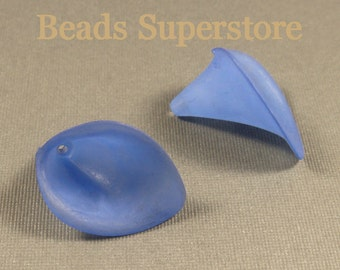 19 mm x 21 mm Royal Blue Calla Lily Lucite Flower Bead - 10 pcs