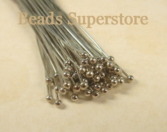SALE 2 Inch (50 mm) Platinum-Plated Brass Ball End Head Pin - Nickel Free and Lead Free - 100 pcs (BP2P)