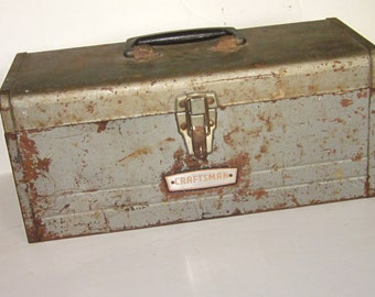 CRAFTSMAN Work Toolbox with Inner Tray-Rustic Industrial Distressed Machinist Storage Container with Tray