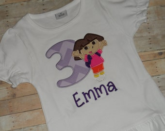 Dora Birthday Shirt Baby Todder Girls custom applique12m 18m 24m 2t 3t 4t 5t