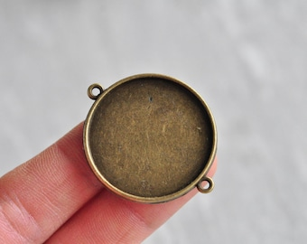 8pcs 30mm Pad Antique Bronze Round Base Setting Connector Double Sided Cameo Cabochon Base Charm Pendant PP589