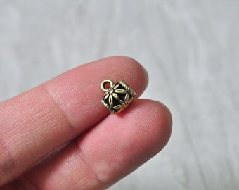 40pcs Antique Bronze Spacer Bead Charm Large Hole String Leather Bead 10x8mm PP872