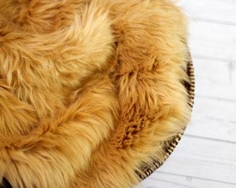 Faux Fur 18x20 Camel Photography Backdrop, Newborn Photo Prop, Faux Fur Fabric, Basket Filler, Layering Blanket