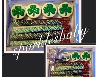 St. Patrick's Day shamrock oreo and pretzel gift box -   Three Leaf Clover chocolate oreos