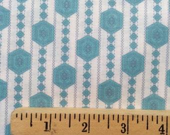 Annette Tatum Fall House Prairie fabric AT40 Sea blue white stripe sewing quilting free spirit cotton fabric 100% cotton fabric by the yard