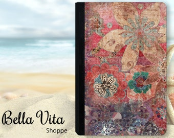 Vintage Floral Grunge Bohemian Tapestry iPad Case, Fall Colors, Folio Style for iPad Air or Mini