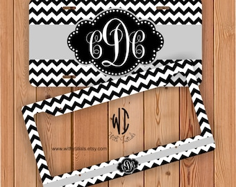 Personalized Monogrammed Chevron Black And White Print License Plate Or Frame - Gray Monogram Car Tag Personalized Bike Accessory