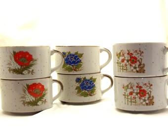 Vintage Stoneware Soup Mugs Set/6 Orange and Blue Floral Speckled