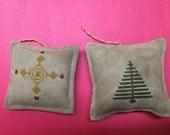 Primitive Folk Art Cross Stitch Sampler-inspired Ornaments