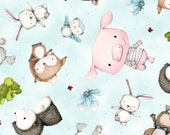 Half Yard Snuggle Buddies - Tossed Animals in Aqua - Cotton Quilt Fabric - by Stacey Yacula for Quilting Treasures - 23434-Q (W2269)