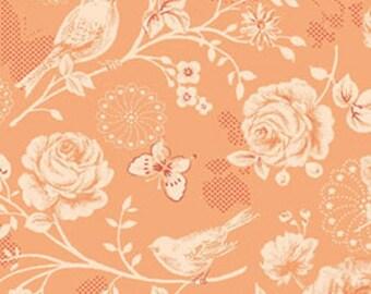 One Yard Ellie Ann - Morning Sun in Sweet Mango - Romantic Floral Cotton Quilt Fabrics- Eleanor Burns for Benartex Fabrics - 1229-28 (W2336)