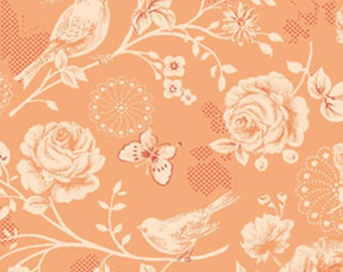 One Yard Ellie Ann - Morning Sun in Sweet Mango - Romantic Floral Cotton Quilt Fabrics- Eleanor Burns for Benartex Fabrics - 1229-28 (W2336)