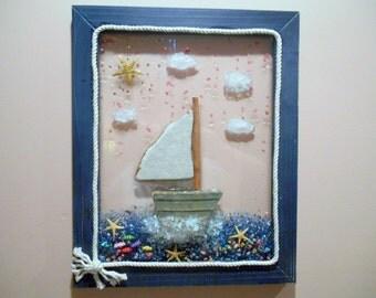 Sailboat Art, Sailboat Wall Decor, Nautical Beach Ocean Decor, Beach House Decor, Summer Decor