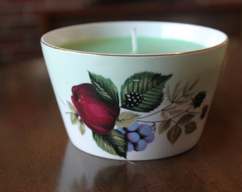 Stunning Sugar Bowl Candle featuring Plum, Grape and Black Berries design, gold gilt edging around rim, filled with green paraffin wax