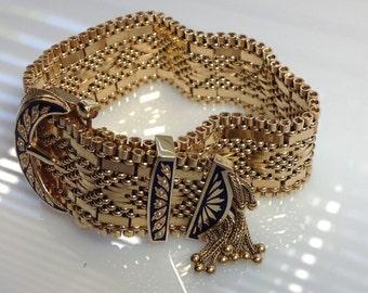 Stunning Antique Gold Mesh Bracelet Midnight Blue Enamel Seed Pearls