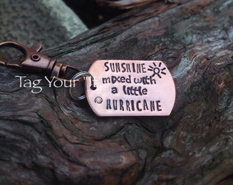Hand stamped keychain - copper - dog tag - dad - anniversary