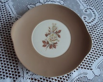 Floral earred cake plate serving plate Queen Anne bone china England brown rose flower with handles vintage china tea