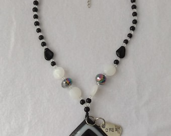 Sale - 50% OFF Lampwork Glass Pendant Necklace With Silver Dream Charm, Black and White Necklace