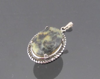 Vintage Jewelry Silver-Tone Cabochon Charm Pendant